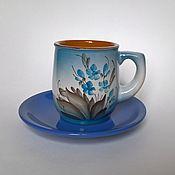 "Посуда ручной работы. Ярмарка Мастеров - ручная работа Чайная пара ""Незабудка"". Handmade."