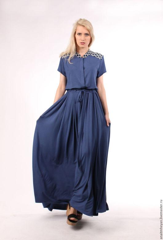 Платья ручной работы. Ярмарка Мастеров - ручная работа. Купить Платье. Handmade. Тёмно-синий, платье купить, лайкра 5%