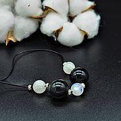 Украшения handmade. Livemaster - original item Necklace, choker of rainbow obsidian and moonstone