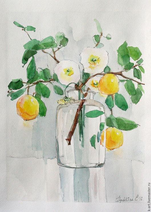 Картины цветов ручной работы. Ярмарка Мастеров - ручная работа. Купить Лимонник и маки. Handmade. Желтый, лимоны, картина для интерьера