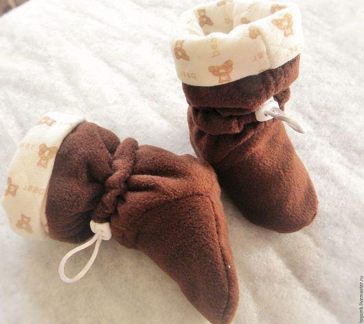 Детская обувь ручной работы. Ярмарка Мастеров - ручная работа. Купить Высокие пинетки из флиса. Handmade. Коричневый, трикотаж, шнурок