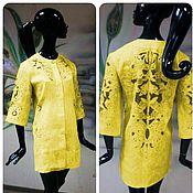 """Одежда ручной работы. Ярмарка Мастеров - ручная работа Пальто-жакет с ручной вышивкой """"Солнечное ришелье"""" льняное. Handmade."""