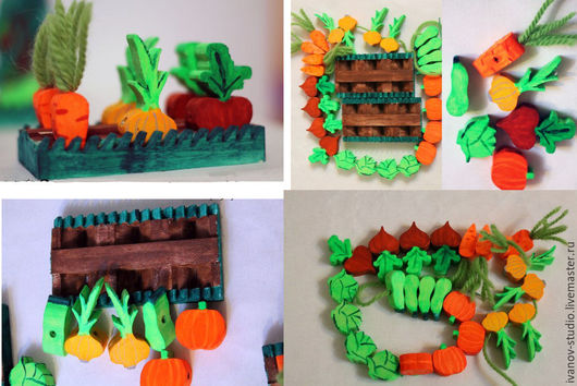 Развивающие игрушки ручной работы. Ярмарка Мастеров - ручная работа. Купить Овощная грядка. Handmade. Комбинированный, овощи, шнуровка, подарок