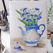 Картины и панно handmade. Livemaster - original item Pictures: Bouquet of cornflowers watercolor. Handmade.