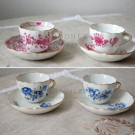 Винтажная посуда. Ярмарка Мастеров - ручная работа. Купить Кофейные пары Meissen. Handmade. Розовый, люкс, ручная роспись