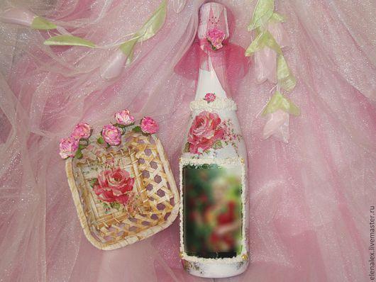 """Персональные подарки ручной работы. Ярмарка Мастеров - ручная работа. Купить Подарочная бутылка """"В  жутких розочках"""")). Handmade."""