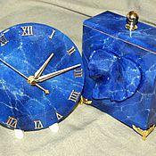 """Для дома и интерьера ручной работы. Ярмарка Мастеров - ручная работа Комплект """"Лазурит""""(часы и шкатулка). Handmade."""