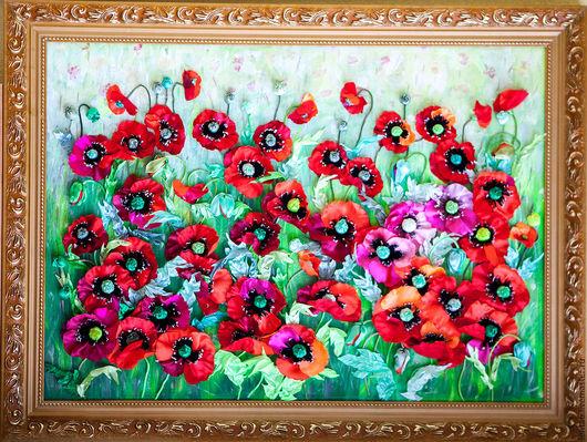 Картина `  Маки`  из коллекции ленточных работ от Марии Людвиг