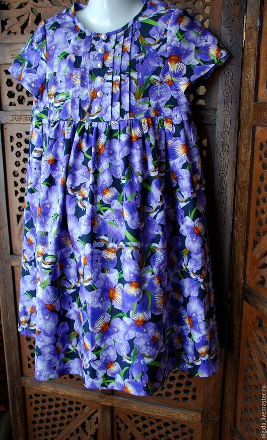 Одежда для девочек, ручной работы. Ярмарка Мастеров - ручная работа. Купить ИРИСЫ платье для девочки из хлопка. Handmade. Платье для девочки
