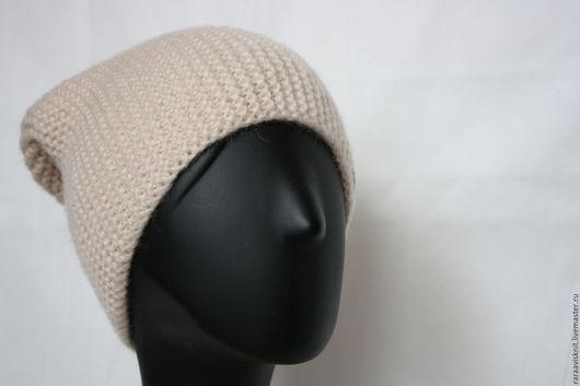 Шапки ручной работы. Ярмарка Мастеров - ручная работа. Купить Вязаная шапка бини, вязаная шапка женская Бежевая. Handmade.