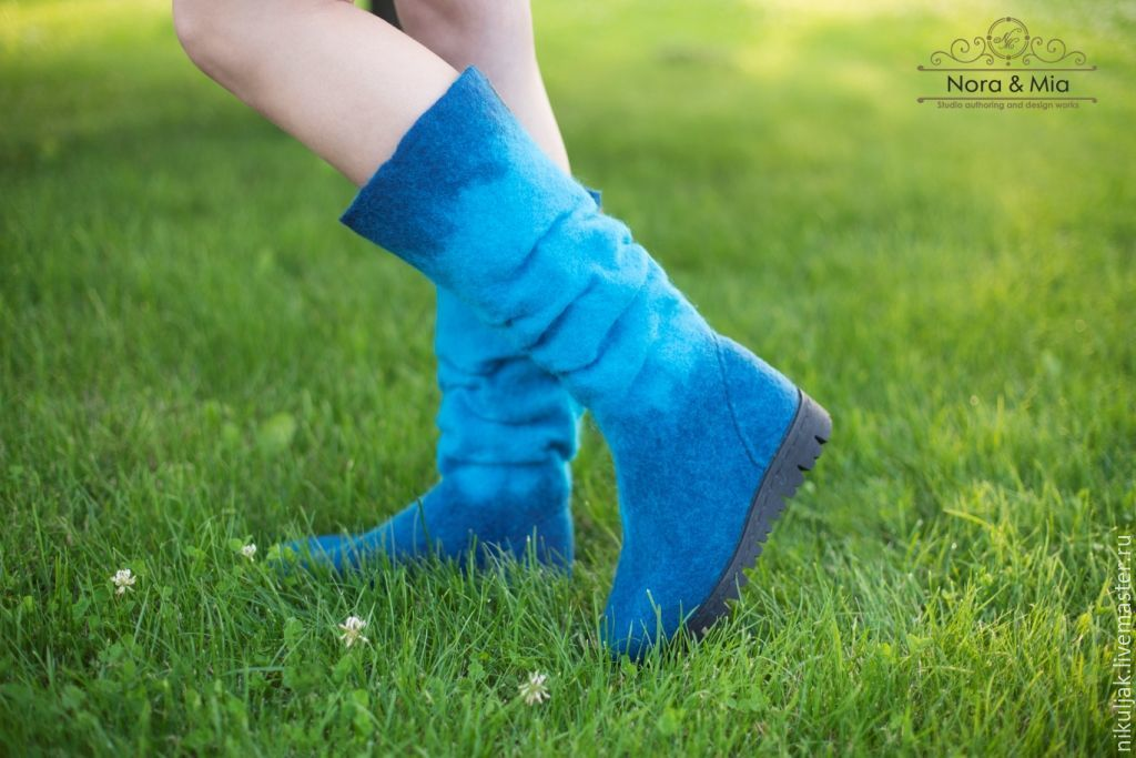 Felted women boots Deep blue sea, High Boots, Dnepropetrovsk,  Фото №1