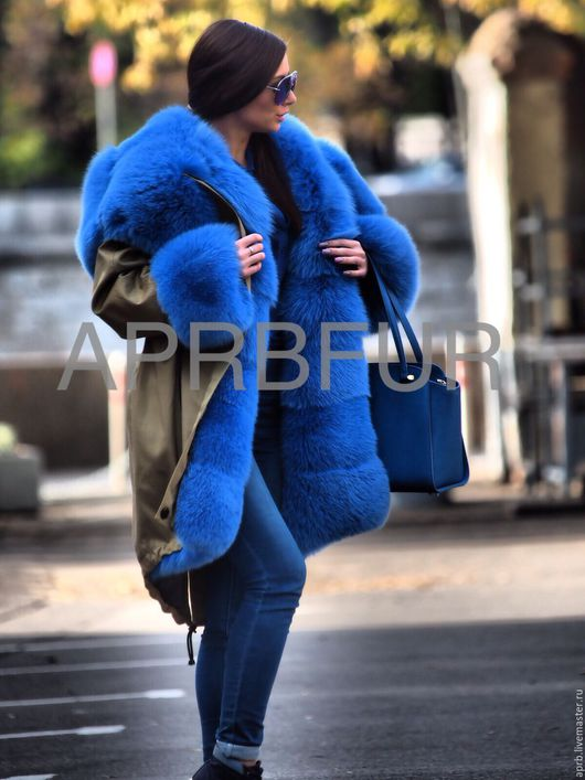 Верхняя одежда ручной работы. Ярмарка Мастеров - ручная работа. Купить Парка зимняя тёплая цвет сафари с голубым песцом. Handmade.