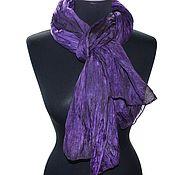 Аксессуары ручной работы. Ярмарка Мастеров - ручная работа фиолетовый шарф шелковый ручная окраска подарок женщине учителю. Handmade.