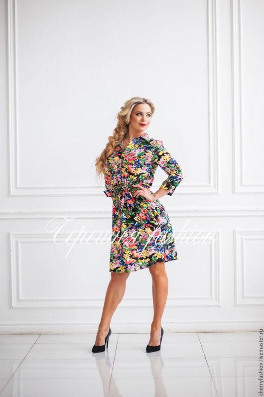 """Платья ручной работы. Ярмарка Мастеров - ручная работа. Купить Платье - рубашка  """"Кристи"""" (мини). Handmade. Комбинированный, платье из хлопка"""