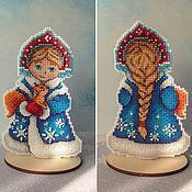 Сувениры и подарки handmade. Livemaster - original item Decor: Cross stitch snow maiden. Handmade.