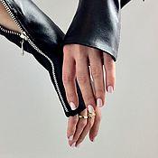 Аксессуары handmade. Livemaster - original item Women Fingerless Gloves Leather Cuffs Gloves Zipper Gauntlet. Handmade.