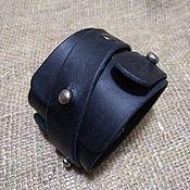 Браслет из бусин ручной работы. Ярмарка Мастеров - ручная работа Браслет-напульсник кожаный, черный. Handmade.