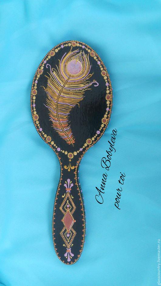 Декорированные зеркальца ручной работы. Ярмарка Мастеров - ручная работа. Купить Зеркало деревянное на ручке с росписью. Handmade. Зеркало