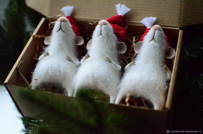 Новогодние мышата, Войлочная игрушка, Самара,  Фото №1