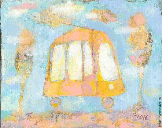 """Фантазийные сюжеты ручной работы. Ярмарка Мастеров - ручная работа. Купить Картина акрилом """"Желтый трамвай"""". Handmade. Картина, Живопись"""