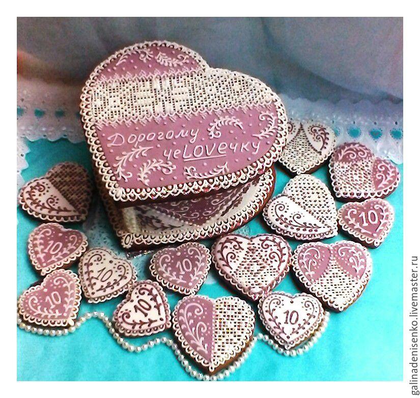 Gingerbread box-heart Purple mood, Gingerbread Cookies Set, Rostov-on-Don,  Фото №1