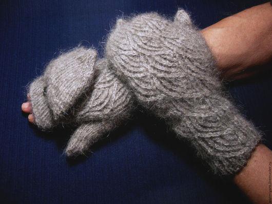 """Варежки, митенки, перчатки ручной работы. Ярмарка Мастеров - ручная работа. Купить Варежки-трансформеры женские """"Балтийский Ветер"""" из собачьей шерсти. Handmade."""