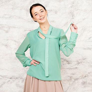 Одежда ручной работы. Ярмарка Мастеров - ручная работа Шифоновая блузка с длинными завязками. Handmade.