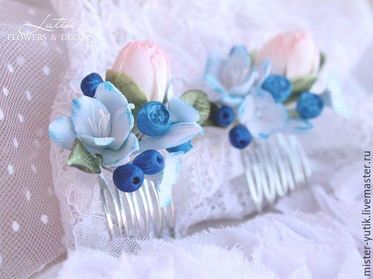 """Свадебные украшения ручной работы. Ярмарка Мастеров - ручная работа. Купить Мини гребешок """"Winter"""" для прически с цветами. Handmade."""