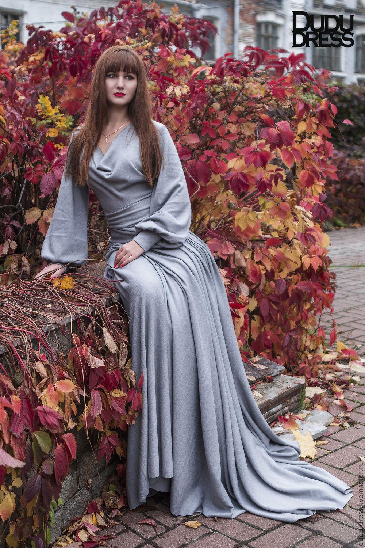 65a02bf764b Платья ручной работы. Ярмарка Мастеров - ручная работа. Купить Серое тёплое  платье в пол ...