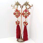 Украшения handmade. Livemaster - original item Earrings brush long Spell stones 2 red.. Handmade.