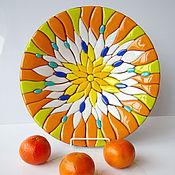 Посуда ручной работы. Ярмарка Мастеров - ручная работа Блюдо из стекла Солнечное, фьюзинг, 31 см. Handmade.
