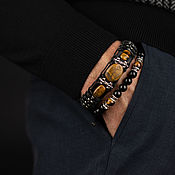 Украшения handmade. Livemaster - original item men`s leather bracelet with natural tiger eye stone. Handmade.