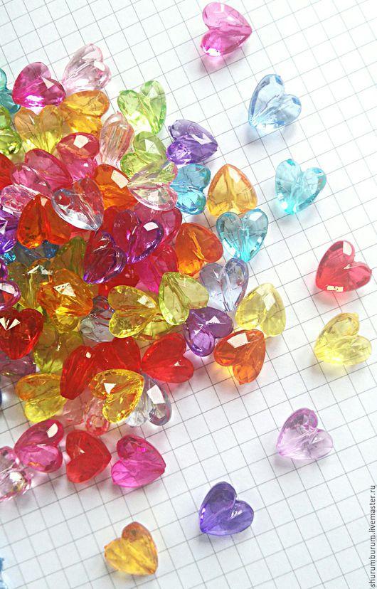 Для украшений ручной работы. Ярмарка Мастеров - ручная работа. Купить Бусина акриловая кристалл сердце 12мм. Handmade. Комбинированный