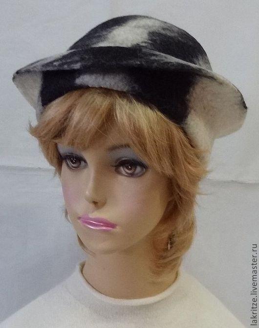 """Шляпы ручной работы. Ярмарка Мастеров - ручная работа. Купить Шляпка """"Монохромная"""".. Handmade. Чёрно-белый, шерсть 100%"""