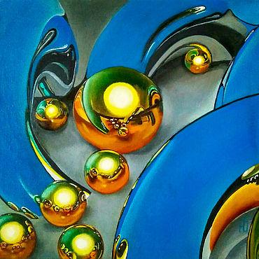Картины и панно ручной работы. Ярмарка Мастеров - ручная работа Картина интерьерная абстракция Золотые шары гиперреализм масло холст. Handmade.