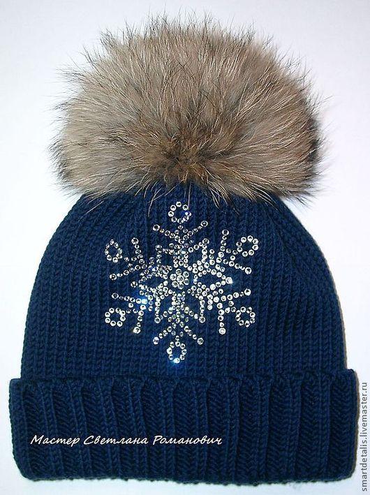 Шапки и шарфы ручной работы. Ярмарка Мастеров - ручная работа. Купить Двойная зимняя шапка с меховым помпоном для девочки. Handmade.