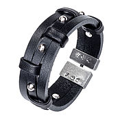 Украшения handmade. Livemaster - original item Black leather bracelet with three studs. Handmade.