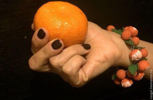 Браслеты ручной работы. Ярмарка Мастеров - ручная работа. Купить Браслет и серьги Мандарины из полимерной глины. Handmade. Оранжевый, украшение