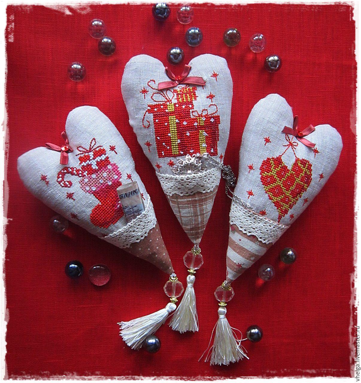 Тильды сердечки вышивкой