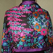 Винтажная одежда ручной работы. Ярмарка Мастеров - ручная работа Шелковый шарф-палантин с яркими цветами. Handmade.