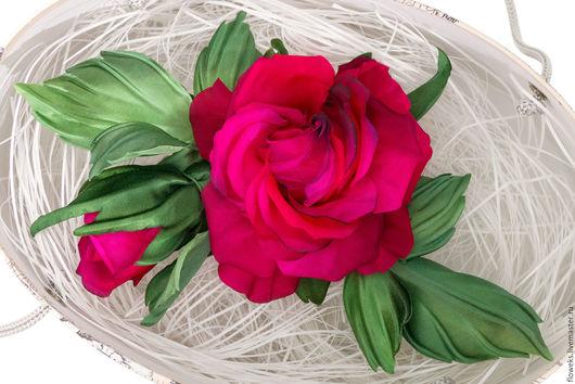 """Цветы ручной работы. Ярмарка Мастеров - ручная работа. Купить Цветы из шелка. Роза """"Зимний вечер"""".. Handmade. Ярко-красный"""