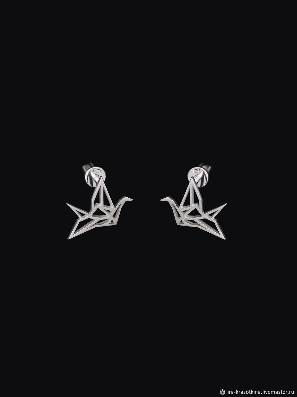 Серебряные серьги-гвоздики «Оригами», Серьги классические, Москва,  Фото №1