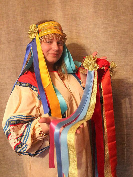 Этническая одежда ручной работы. Ярмарка Мастеров - ручная работа. Купить + Русский народный девичий головной убор Лента - венок. Handmade.