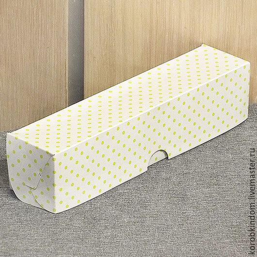 Упаковка ручной работы. Ярмарка Мастеров - ручная работа. Купить Коробка 22х5х5 белая в зеленый горошек для макарун. Handmade. Коробочка