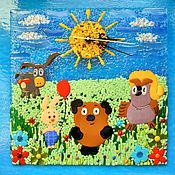 Для дома и интерьера handmade. Livemaster - original item Wall clock in the technique of fusing Winnie the Pooh and Friends. Handmade.