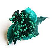 Украшения handmade. Livemaster - original item Caribbean leather barrette with stamen turquoise sea wave. Handmade.