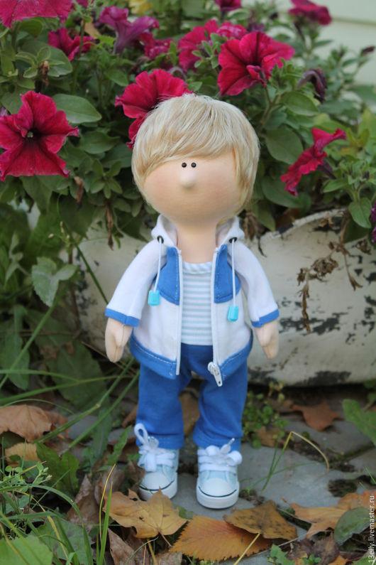 Коллекционные куклы ручной работы. Ярмарка Мастеров - ручная работа. Купить Спортсменка. Handmade. Синий, текстильная кукла, хб трикотаж