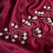 Свадебный салон handmade. Livemaster - original item silver twig with white pearl lily of the valley. Handmade.