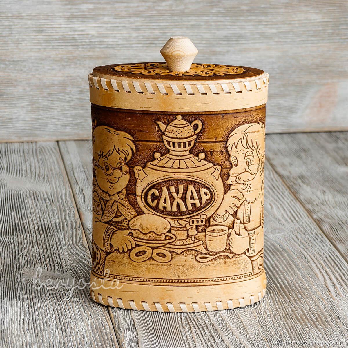 box a jar for sugar from birch bark grandfather baba samovar rh livemaster com