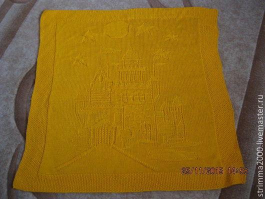 """Для новорожденных, ручной работы. Ярмарка Мастеров - ручная работа. Купить Плед спицами """"Солнечный замок"""". Handmade. Желтый"""